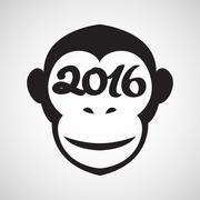 Cute monkey logo in a shape of a circle, New Year 2016, vector illustration l - stock illustration