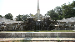 Old fountain in park of Schonbrunn Palace in Vienna Austria Stock Footage