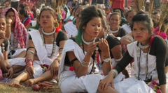 Nepali women at festival,Chitwan,Nepal Stock Footage