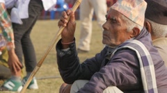 Nepali man with traditional hat at festival,Chitwan,Nepal Stock Footage