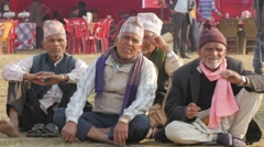 Men with traditional cap at festival,Chitwan,Nepal Stock Footage