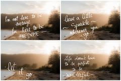 Photo Collage of Handwritten motivational texts - stock photo