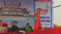Lady dancer at festival,Chitwan,Nepal - stock footage