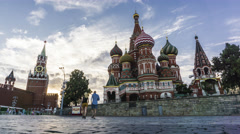 Moscow Kremlin, Red square and Saint Basil's cathedral 4K evening timelapse Stock Footage