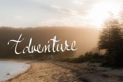 Adventure Handwritten motivational text - stock photo