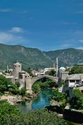 old bridge in Mostar - protected by UNESCO - stock photo