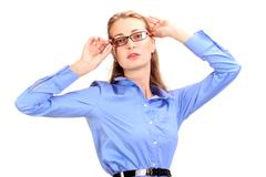 Awful headache. Mature business woman holding head in hands Stock Photos