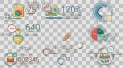 Business Infographics Color Elements With Alpha Channel - stock footage
