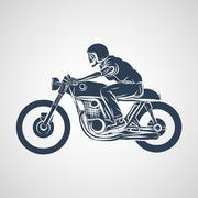 Skull ride a classic cafe racer motorcycle Stock Illustration