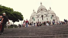 PARIS, FRANCE: Tourists near the Basilica of the Sacred Heart of Paris Stock Footage