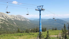 Chairlift, view from high mountain, summer landscape - stock footage