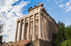Temple of Antoninus and Faustina Stock Photos