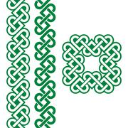 Celtic green Irish knots, braids and patterns Stock Illustration