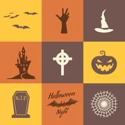 Set of halloween icons isolate on multicolor backgrounds. Flat design. Holiday - stock illustration