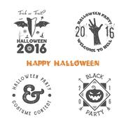 Halloween 2016 party label templates with scary symbols - zombie hand, bat - stock illustration