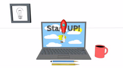 Start up cartoon computer with rocket fly business animation 4k 3d background Stock Footage
