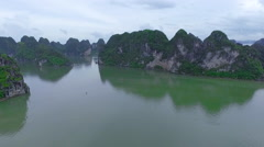 Aerial view of Vietnam Halong mountain to sea Asian boat Stock Footage