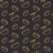 coffee seamless pattern - stock illustration