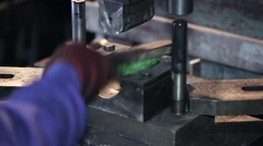 Worker cleans the stamp and the stamp detail for scaffolding Stock Footage