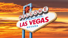 Welcome to Las Vegas Sign with Time Lapse Sunset Stock Footage