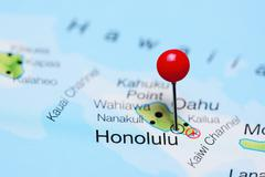 Honolulu pinned on a map of Hawaii - stock photo