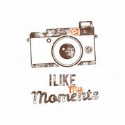 Retro poster with old camera icon and vector text - i like my moments. Isolated - stock illustration