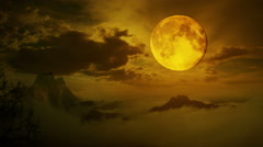 Timelapse Dramatic sky with tree, full moon and clouds over mountain. - stock footage