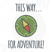 Camping logo design with typography and travel elements - compass. Vector text - Piirros
