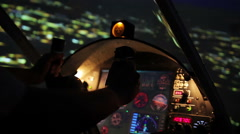 Night flight above city, professional pilot navigating plane, air transportation Stock Footage