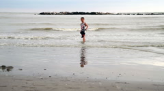 Child with fishing net Stock Footage