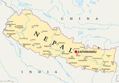 Nepal Political Map Stock Illustration