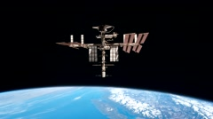 Flight Of The Space Station Above Earth Stock Footage