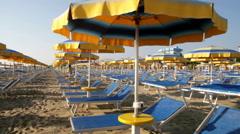 Adriatic beach umbrellas and sunbeds Stock Footage