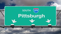 Pittsburgh Interstate 279 Overhead Highway Sign with Time Lapse Clouds Stock Footage