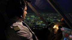 Plane captain flying in autopilot mode, filling out flight report, job duties Stock Footage