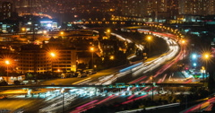 Night traffic time lapse in urban setting Stock Footage