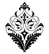 Damask white and black pattern. Stock Illustration