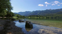 4K. Amazing Bohinj Lake in the morning. Deep clear water with fish. Slovenia. Stock Footage