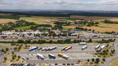Aerial view of Tank- und Rastanlage (highway rest area) Wetterau Stock Footage
