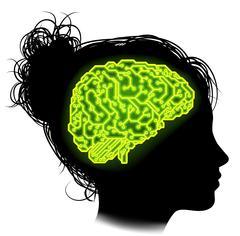 Electrical Circuit Brain Woman Concept - stock illustration