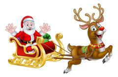 Christmas Santa and Reindeer Sleigh Stock Illustration