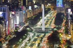 9 de Julio Obelicso Buenos Aires Skyline downtown at night cityscape. Argentina - stock photo
