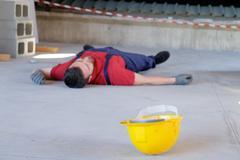 Dramatic on-the-job injury - stock photo