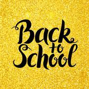 Back to School Vector Lettering over Gold Glitter Stock Illustration