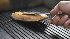 Grilled red fish steak salmon on the grill in slow motion Stock Footage