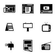 Vector black advertisement icons set Stock Illustration