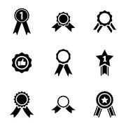 Vector black award medal icons set - stock illustration