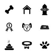 Vector black dog icons set Stock Illustration