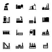 Vector black factory icons set Stock Illustration
