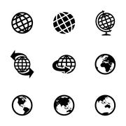 Vector black globe icons set - stock illustration